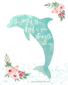 Jump for joy with this adorable dolphin print featuring our favorite joy-filled bible verse from Nehemiah. This fun and fresh print will make the perfect addition to your little girl's modern tropical room or nursery!  #topicalnursery #walldecor #dolphin #bibleverse