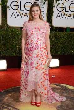 Drew Barrymore in #Marchesa #GoldenGlobes