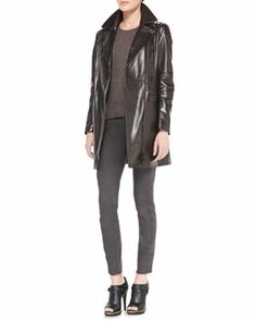 -541H Belstaff Satin Leather Long Jacket, Contoured Ribbed Crew Sweater & Skinny Twill Moto Jeans