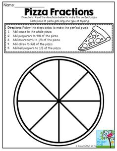 So many FUN and hands-on ways to work with fractions! *Students could also make their own pizza using the fractions provided and then write up the recipe. Pizza Fractions, 3rd Grade Fractions, Teaching Fractions, Fractions Worksheets, Fourth Grade Math, 3rd Grade Classroom, Second Grade Math, Math Classroom, Equivalent Fractions