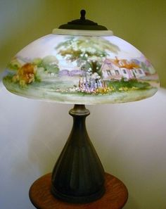 Fine Pairpoint Table Lamp Lansdowne Scenic Shade Houses Town Cattle Large Painting Lamps, Oil Lamps, Antique Lamps, Vintage Lamps, Chandelier Lamp, Chandeliers, Shade House, Paint Shades, Hearth And Home