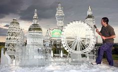 Ice sculpture of London landmarks