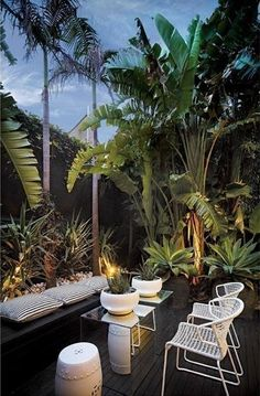 Outdoor Living - Love the tropical landscaping, but I would have to add more comfy seating: