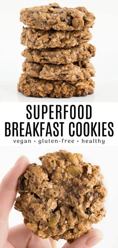 These superfood breakfast cookies are crunchy nutty and super yummy! The recipe is vegan gluten-free and ready in under 30 minutes. It contains chia seeds oatmeal pumpkin seeds and other healthy ingredients. Gluten Free Breakfasts, Healthy Breakfast Recipes, Healthy Snacks, Vegan On The Go Breakfast, Healthy Breakfast Cookies, Breakfast Ideas, Pumpkin Breakfast Cookies, Breakfast Cookie Recipe, Vegetarian Breakfast