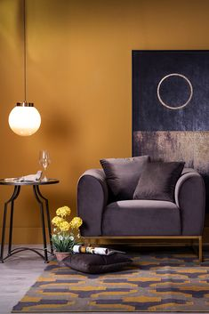 Looking for a mysterious atmosphere? Hang your pendant light lower and add some dark colors. ;) #home #ambience #inspiration #decor #idea #newlook #interiordesign #homedesign #redecorate #freshdesign #vivrehome #lighting #design #ceilinglight #lustra #iluminat #dark #colors #culori #inchise #mysterious #atmosphere #atmosfera #misterioasa #armchair #fotoliu #table #masa #painting #tablou #carpet #covor #pillow #cushion #perna Cushions, Pillows, Dark Colors, Mysterious, Lighting Design, Armchair, Carpet, House Design, Ceiling Lights