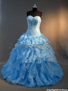 1st-dress.com Offers High Quality Drop Waist Best Turquoise Puffy Quinceanera Gown Dress IMG_2844,Priced At Only US$245.00 (Free Shipping)