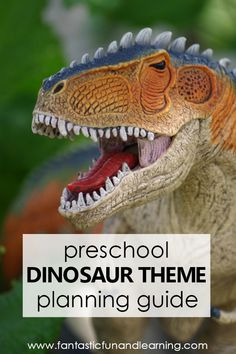 Preschool Dinosaur Theme Activities-Lesson plans, printables, hands-on activities, videos and Dinosaur Books For Kids, Dinosaur Theme Preschool, Dinosaur Activities, Dinosaur Crafts, Preschool Books, Preschool At Home, Preschool Curriculum, Preschool Themes, Preschool Lessons