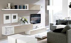 Mueble de salón acabado en color blanco y arena. Disponible también en ceniza, wengue y nogal blanco/arena. Medida 300 cm.