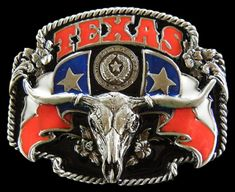 TEXAS LONGHORN STATE FLAG WESTERN BIG BELT BUCKLE Country Belt Buckles, Country Belts, Rodeo Belt Buckles, Cool Belt Buckles, Western Belts, Country Wear, Cowboy And Cowgirl, Cowboy Hats, Buckle Outfits