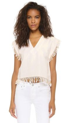 Beige Gypset  crop top  for woman Metallic strands bring playful shimmer to this boxy Gypset top. Fringed edges. V neckline. Fabric: Metallic weave. 100% cotton. Hand wash. Imported, India. Measurements Length: 20.75in / 53cm, from shoulder Measurements from size S. Available sizes: L,M #topcorto #bralet #strappybralet #bandeautop