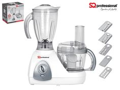 SQPro Kitchen Blitz 500W Food Processor brings versatility and a classic design to the kitchen, offering a wealth of options from slicing and chopping to grating and mixing. Aside from the main bowl, it has an integrated blender to give you even more flexibility. The low-noise, high-power motor with a toughened steel blade will breeze through a whole range of ingredients, saving valuable time and energy.