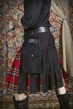AK Men Hybrid Kilt Leather Straps Black Denim Utility Kilt Rose Scottish Tartan