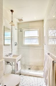 marble basketweave and subway tile