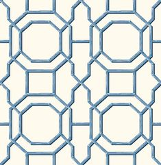 Summer Blue Trellis Wallpaper Brewster Wallcoverings Blues Whites Bamboo Wallpaper Geometric Wallpaper Modern Classics Wallpaper Trellis & Quatrefoil Wallpaper, Non Woven, Easy to clean , Easy to wash, Easy to strip