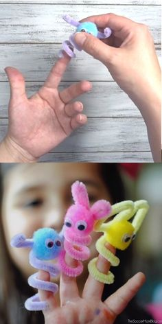 Pipe Cleaner Finger Puppets - DIY by Sabine - Super cute mess free kids craft! How to make finger puppets with pipe cleaners - Winter Crafts For Kids, Diy For Kids, Crafts With Kids, Summer Kid Crafts, Creative Ideas For Kids, Crafts For Babies, Button Crafts For Kids, Crafts For 3 Year Olds, Crafts To Make
