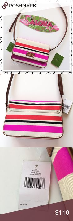 "Kate Spade Flynn Oak Island Crossbody💗HP x2!!💗 NWT Flynn Oak Island Striped crossbody Kate Spade bag. This beautiful bag is perfect for the summer/fall transition. Neutral color with accenting color stripes. Brown leather adjustable crossbody strap and lined with fabric, care card included. Interior zipper pocket and slit media pocket. Retails for $298. Bundle and save!  ⚡️7""h x 11""w x 3""d ⚡️20"" adjustable drop. ❌trades ❌lowballs 👍offer button  🌟Bundle 2 or more items and save 10%🌟 kate…"