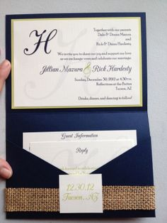 Linen, burlap, navy wedding invitations from Tate Stationery www.tatestationery.com Let's make this yours! Contact me today.