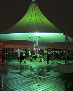 "Pier 44 offers a whole new meaning to ""dancin' in the dark,"" as seen here on a ""typical"" Wednesday summer evening."