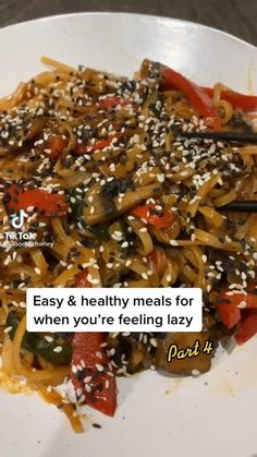 Healthy Options, Easy Healthy Recipes, Healthy Meals, Feeling Lazy, Dinner Recipes, Beef, Forks, Food Videos, Noodles