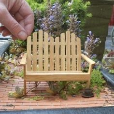 Adirondack Bench-  Adirondack Bench - diy w/popsicle sticks. Pinned for Tina for under your fairy