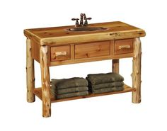 Cedar Slab Top Open Vanity with Shelf, 2 Drawers-Liquid Glass Finish
