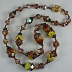 Vintage Aurora Borealis Crystal Bead Metal Flowers Necklace