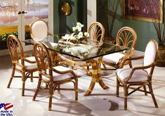 Malibu Classic Rattan Rectangle Dining Set by Classic Rattan. American made; can select white stain; will send six fabric swatches