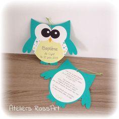 Invitation - faire-part naissance forme hibou turquoise et vert