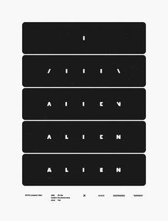 Alien - Cory Schmitz.    Screen-printed poster for BYOCC's screening of Alien at The Piranha Shop.