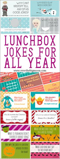 LUNCH BOX JOKES FOR ALL YEAR Lunch Box Joke Cards are a fun way to make your child feel special when they're gone to school! We've got Lunchbox Joke Cards for every season and holiday! Lunchbox Notes For Kids, Lunch Box Notes, Kids Lunch For School, School Snacks, Kid Lunches, School Days, Funny Jokes For Kids, Kid Jokes, Funny Memes