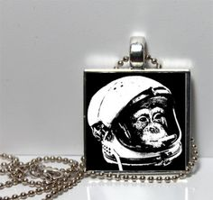 Funny Unusual Black and White Smoking Monkey by Pendantmonium, $6.00