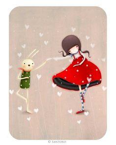 Kori Kumi Cards - Dancing in Step Korean Illustration, Illustration Art, Santoro London, Kiss Art, 3d Cards, Creative Pictures, Cute Little Things, Whimsical Art, Amigurumi Doll