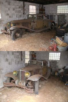 """Barnfind: 1930 Cord Car that still has the gas rations sticker on the windshield. Untouched since Oxford, Connecticut… ethan_kahn: """"Cord was the brand name of an American automobile. Abandoned Houses, Abandoned Places, Abandoned Vehicles, Vintage Cars, Antique Cars, Cord Car, Junkyard Cars, Automobile, Rusty Cars"""
