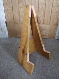2 hours work, old shelving timber and felt pads. Diy Guitar Stand, Guitar Rack, Home Office Setup, Shelving, Barrel, Woodworking, Felt, Wine, Ideas