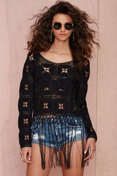 Glamorous Helter Skelter Crochet Top at Nasty Gal