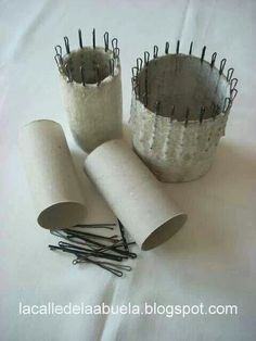 French knitting - using hair pins, tape and card rolls