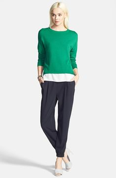 Trouvé Wide Sweater & Elastic Cuff Pleated Pants  available at #Nordstrom