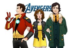 """chamiryokuroi: """"I think my favorite thing of AVAC is that these three are the founding avengers. They are probably BFFs and they get together to terrify the school and give Fury a headache """""""
