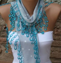 Polka dot  Scarf   Headband Necklace Cowl with  Lace by fatwoman, $15.00
