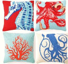 Coastal decor pillows by Garnish Home Decor....look at that Acropora cervicornis in the lower left-hand corner (she said as she pushed her glasses up the bridge of her nose) haha