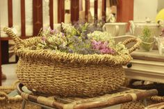 Natural basket with dry flowers