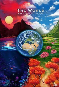 The World, Sylvia Ritter Major Arcana Cards, Tarot Major Arcana, Sylvia Ritter, The World Tarot Card, Divination Cards, Online Tarot, Angel Cards, Tarot Readers, Oracle Cards