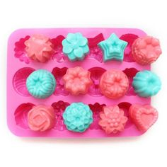 MassMall 12 Cavity Flowers Silicone Non Stick Chocolate Molds Cake Bread Mold  Flower MoldJelly MoldCandy Baking Mould -- Check out the image by visiting the affiliate link Amazon.com on image.