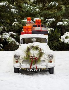 #snow #wreath #VintageCar #presents