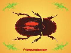 Beetle Free Vector Silhouette Clip Art, Animal Silhouette, Vector Free Download, Free Vector Images, Zoo Animals, Sea Creatures, Vector Graphics, Vector Design, Beetle