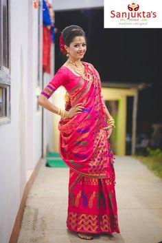 Mekhla by sanjukta Blouse Patterns, Saree Blouse Designs, Indian Attire, Indian Wear, Indian Dresses, Indian Outfits, Mekhela Chador, Feudal System, Bengali Bride