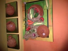 Murals, Clay, 3d, Painting, Vases, Paintings, Christmas Paintings, Roof Tiles, Paper Crafting