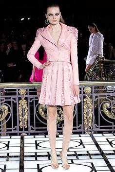 Pastel Pink embellished Shoulders Biker Jacket.  Versace Couture Spring Summer 2013  #Trendy #Fashion