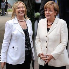 Pin for Later: Angela Merkel oder Hillary Clinton: Wer ist modischer? Beige