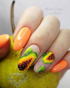 Funky Nail Art, Funky Nails, Bling Acrylic Nails, Gel Nail Art, Fruit Nail Designs, Mickey Nails, Fruit Nail Art, Minion Nails, October Nails